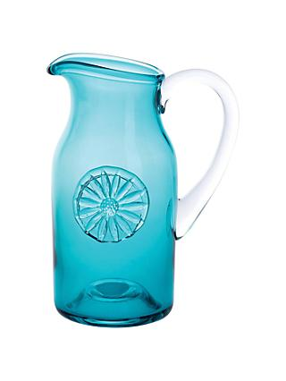 Dartington Crystal Daisy Flower Bottle Vase, Teal, H18cm