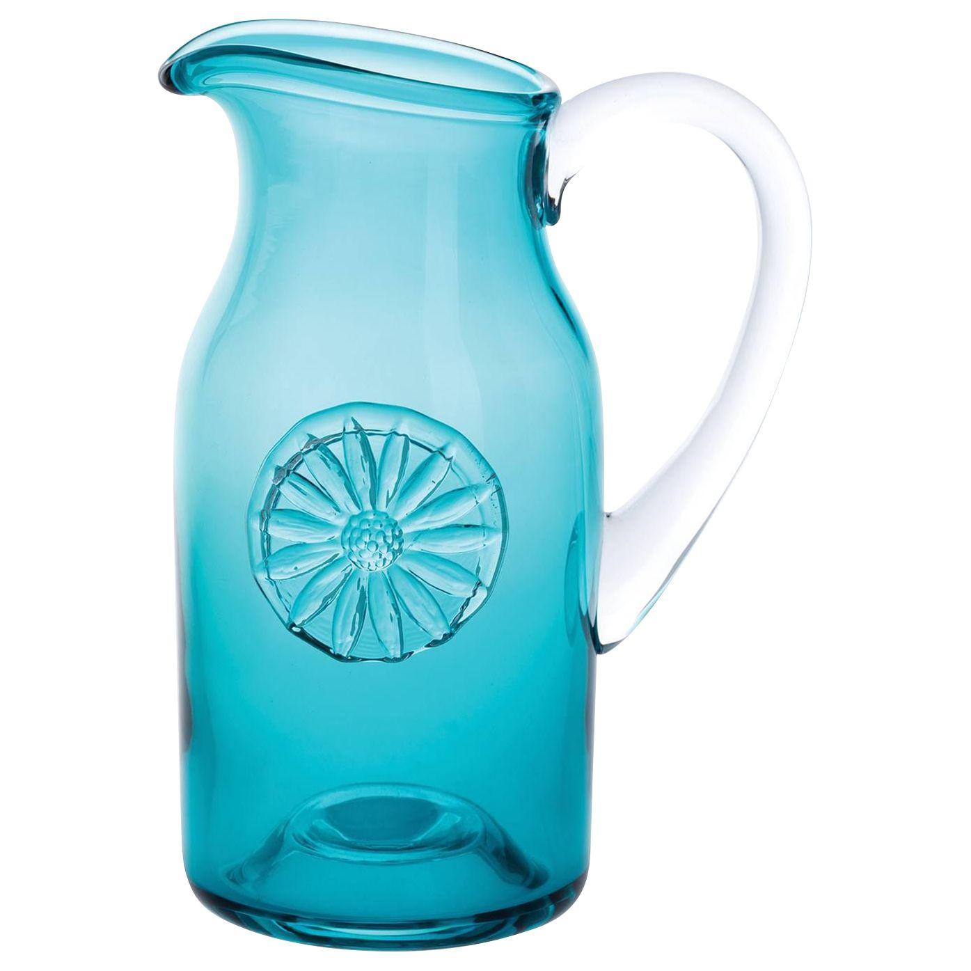 Dartington Crystal Dartington Crystal Daisy Flower Bottle Vase, Teal, H18cm