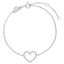 Buy Estella Bartlett Sterling Silver Cubic Zirconia Heart Bracelet, Silver Online at johnlewis.com