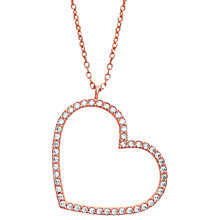 Buy Estella Bartlett  Rose Gold Plated Sterling Silver Cubic Zirconia Large Heart Necklace, Rose Gold Online at johnlewis.com