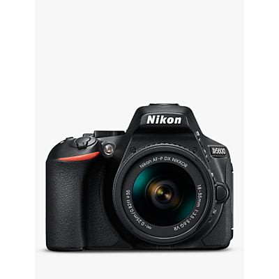 Nikon D5600 Digital SLR Camera with 18-55mm VR Lens, HD 1080p, 24.2MP, Wi-Fi, Optical Viewfinder, 3.2 Vari-Angle LCD Touch Screen, Black