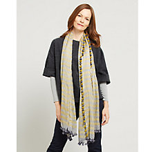 Buy East Stripe Silk Cotton Pom Pom Scarf, Ash Online at johnlewis.com