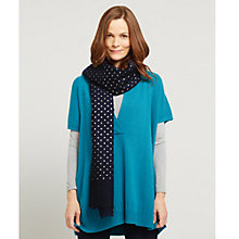 Buy East Silk Wool Spotted Scarf, Navy Online at johnlewis.com