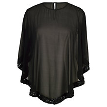 Buy Chesca Ring Sequin Trim Top, Black Online at johnlewis.com