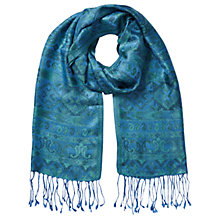 Buy East Silk Tassel Border Scarf, Blue Online at johnlewis.com