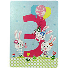 Buy James Ellis Stevens Age 3 Bunny Birthday Card Online at johnlewis.com