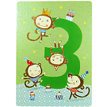 Buy James Ellis Stevens Age 3 Monkey Greeting Card Online at johnlewis.com
