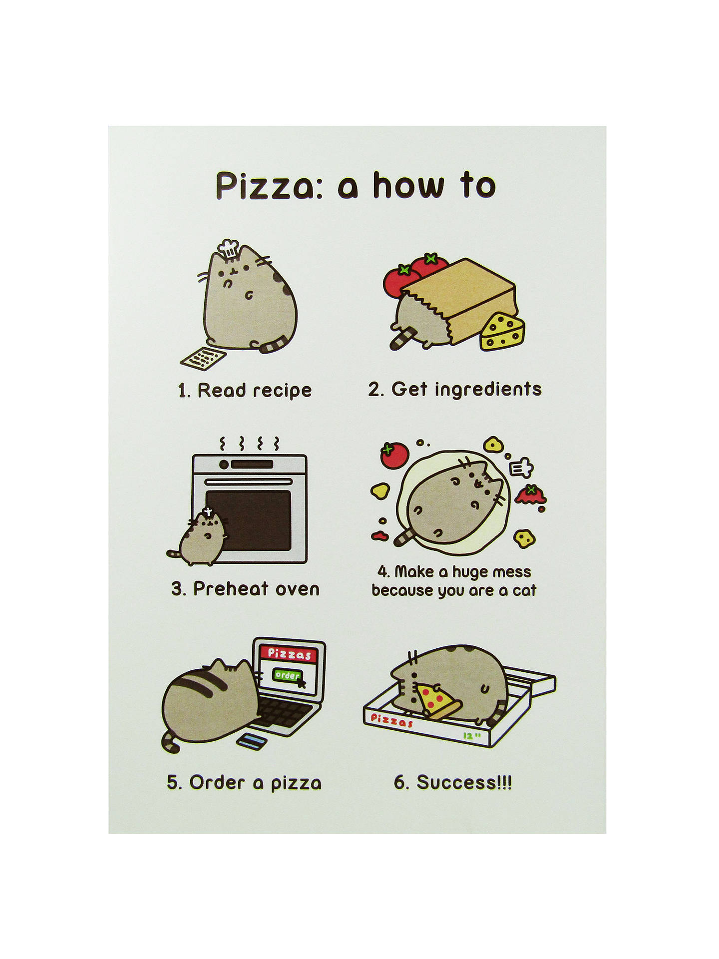Pusheen Pizza How To Greeting Card At John Lewis Partners