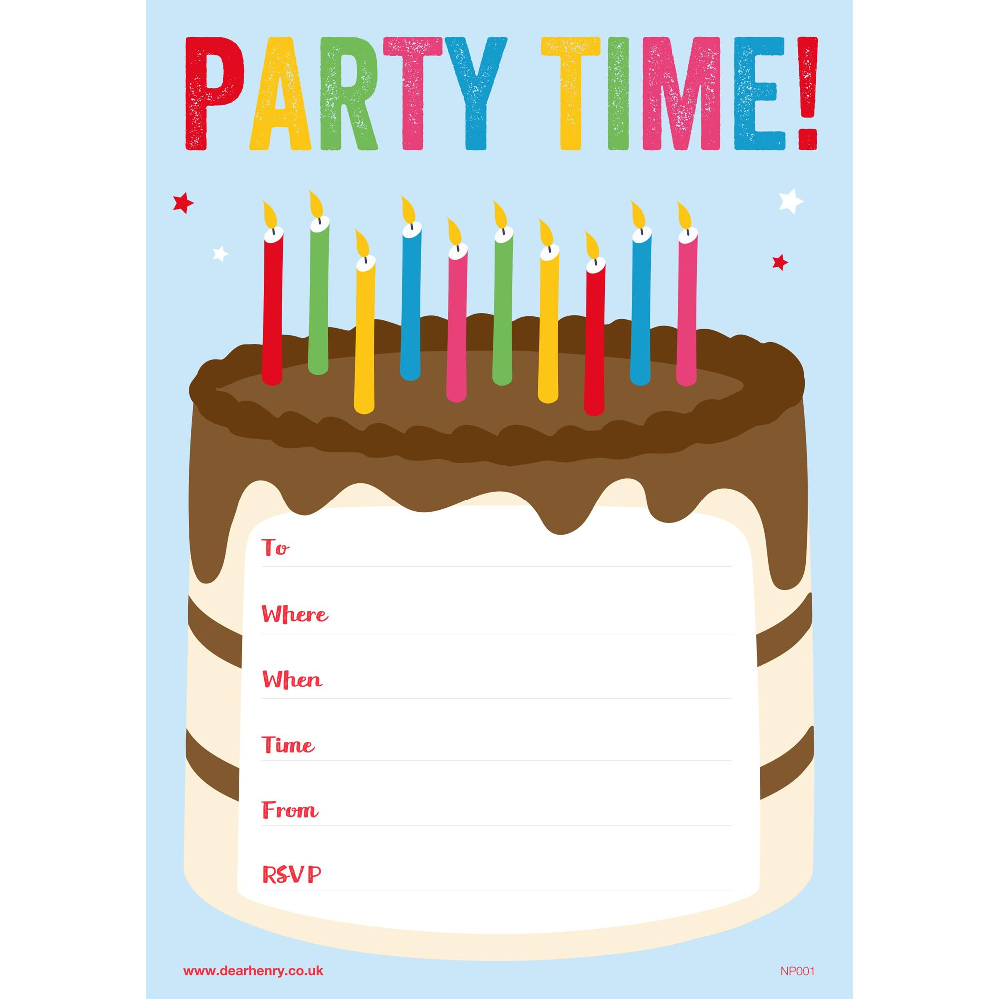 Dear Henry Party Time Invitations, Pack of 20 | Bluewater | £7.50