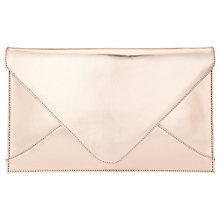 Buy Phase Eight Metallic Leather Envelope Clutch Bag, Rose Gold Online at johnlewis.com