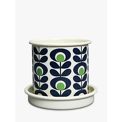 Orla Kiely Spot Flower Small Plant Pot, Green