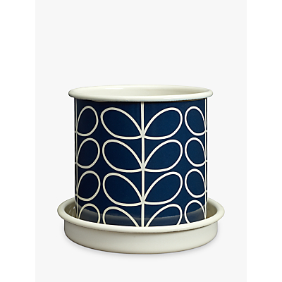 Orla Kiely Linear Stem Medium Plant Pot, Grey