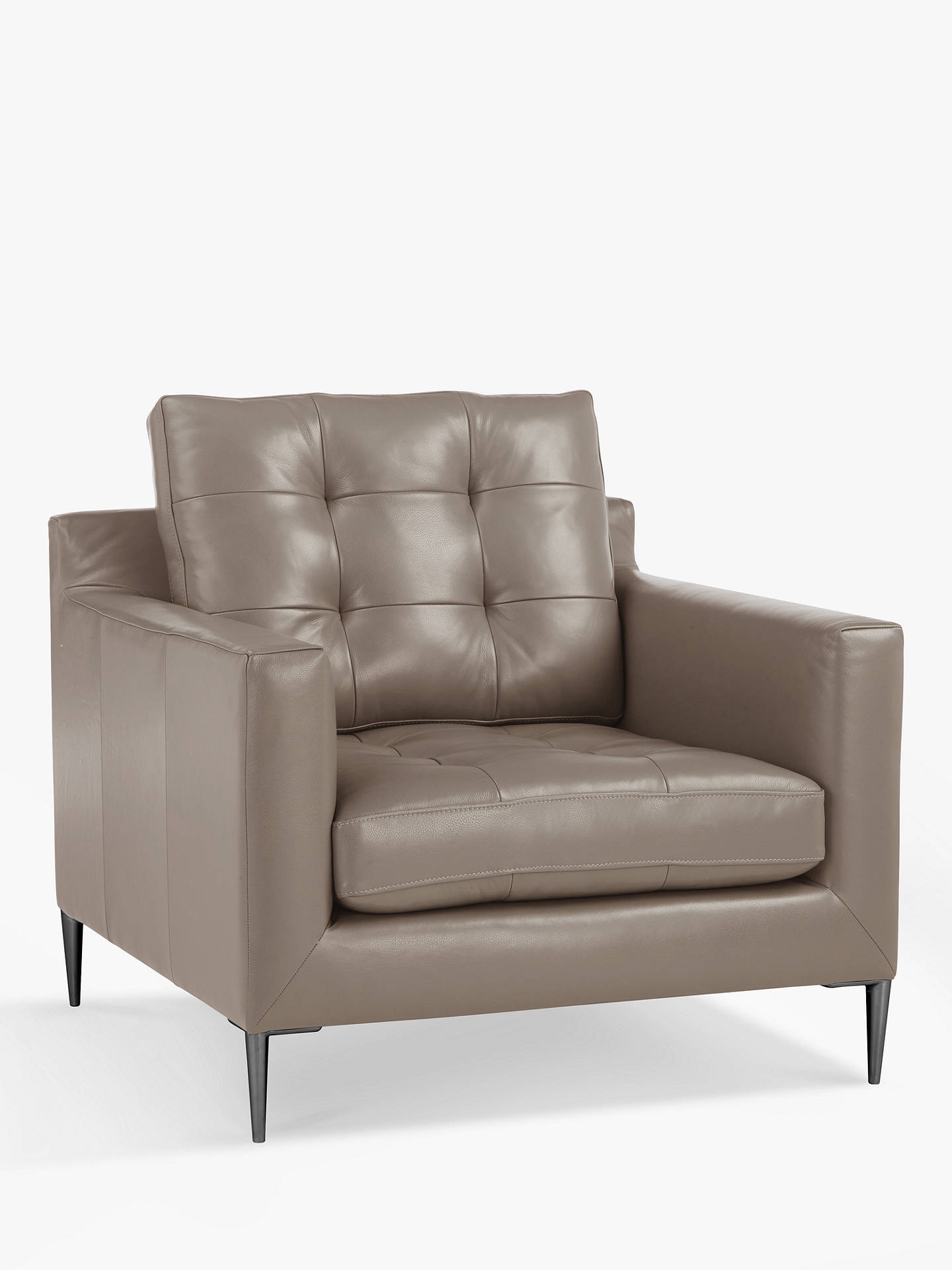 BuyJohn Lewis & Partners Draper Leather Armchair, Metal Leg, Nature Putty Online at johnlewis.com