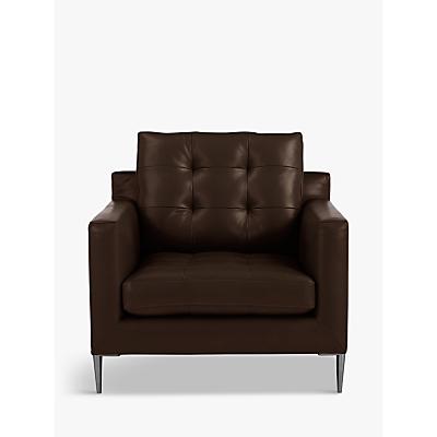 John Lewis & Partners Draper Leather Armchair, Metal Leg
