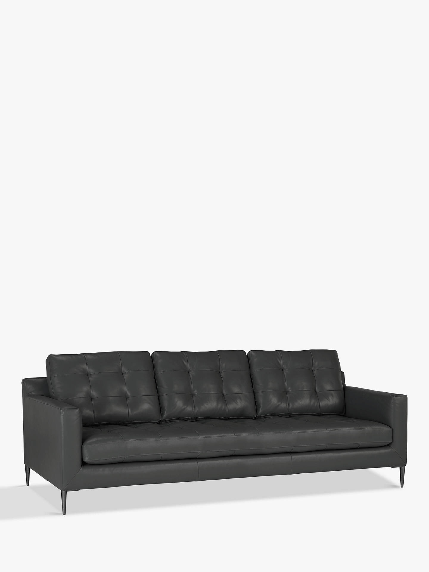 John Lewis & Partners Draper Grand 4 Seater Leather Sofa, Metal Leg,  Winchester Anthracite
