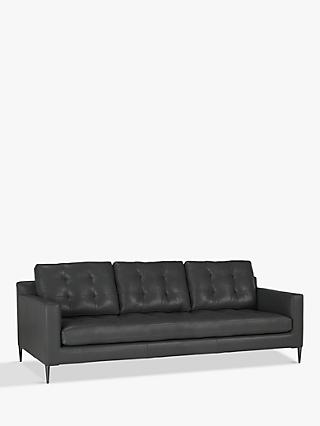 John Lewis & Partners Draper Grand 4 Seater Leather Sofa, Metal Leg