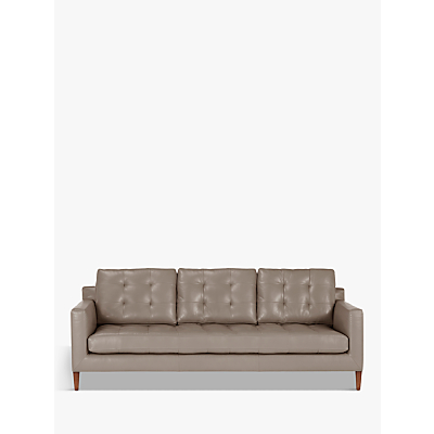 John Lewis Draper Grand 4 Seater Leather Sofa, Dark Leg