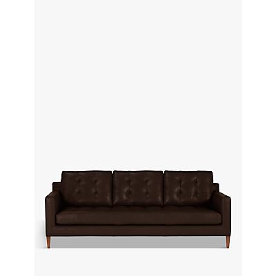 John Lewis Draper Grand 4 Seater Leather Sofa, Dark Leg