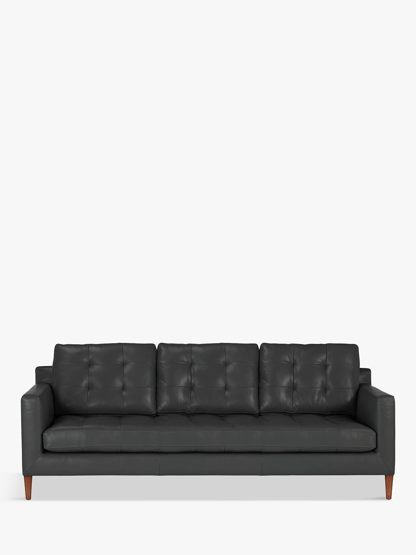 John Lewis Partners Dr Grand 4 Seater Leather Sofa Dark Leg Winchester Anthracite
