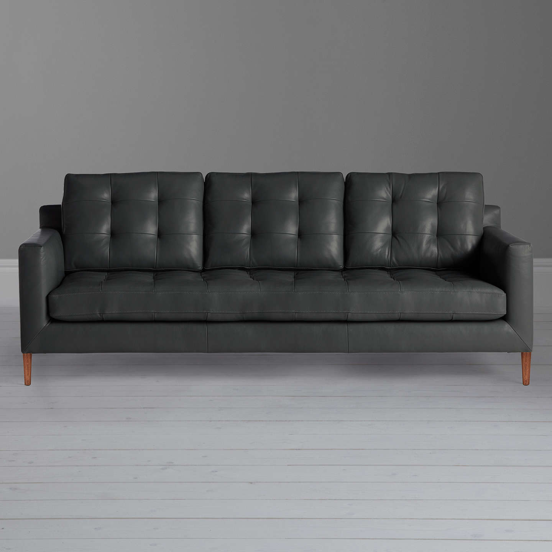 John Lewis Draper Grand 4 Seater Leather Sofa Dark Leg Winchester Anthracite Online At