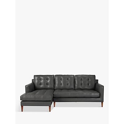 John Lewis Draper LHF Chaise End Leather Sofa, Dark Leg