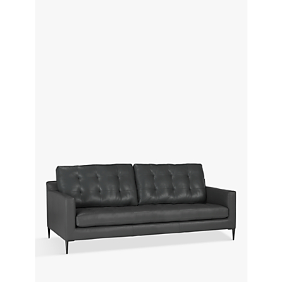 John Lewis Draper Large 3 Seater Sofa, Metal Leg, Winchester Anthracite Leather