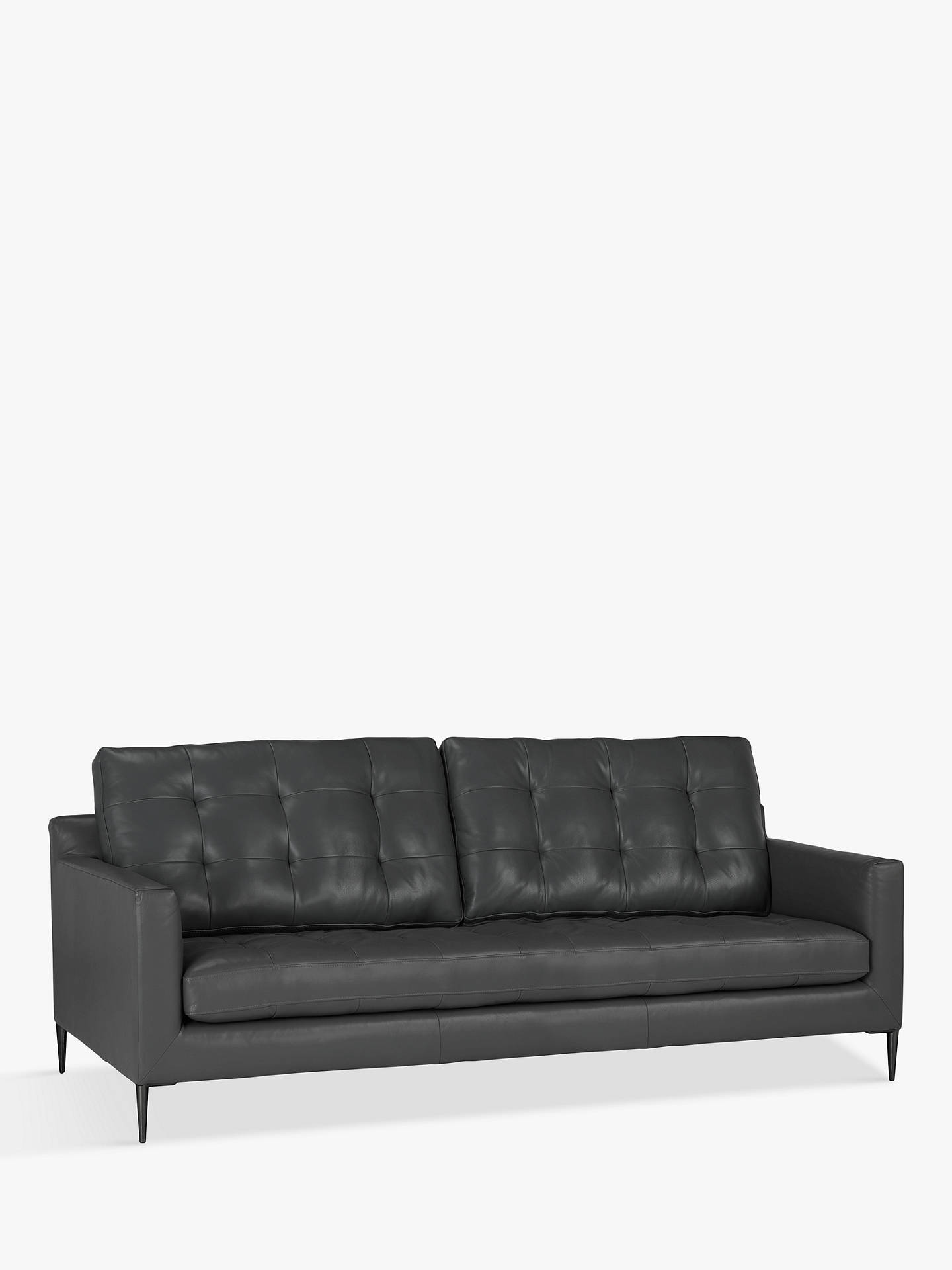 John Lewis & Partners Draper Large 3 Seater Leather Sofa, Metal Leg,  Winchester Anthracite