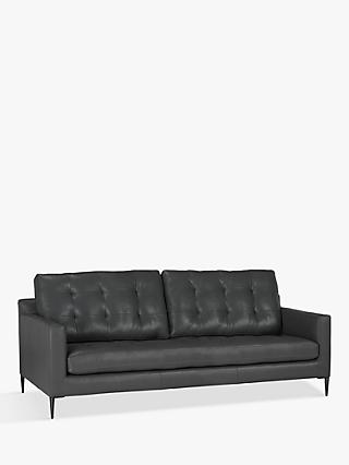 John Lewis & Partners Draper Large 3 Seater Leather Sofa, Metal Leg