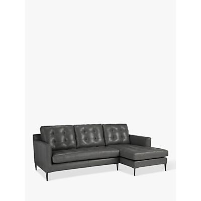 John Lewis & Partners Draper LHF Chaise End Leather Sofa, Metal Leg