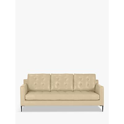 John Lewis Draper Large 3 Seater Leather Sofa, Metal Leg