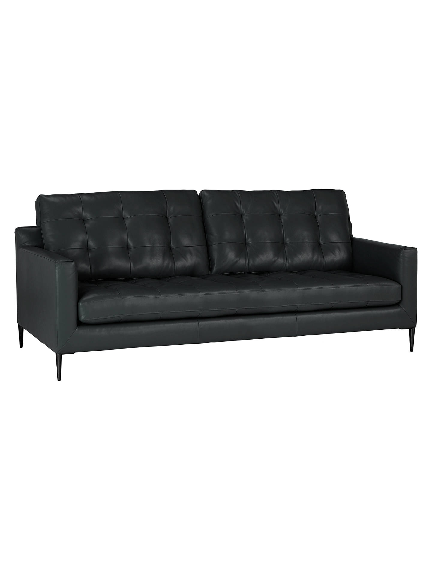 Buy John Lewis & Partners Draper Large 3 Seater Leather Sofa, Metal Leg, Nature Black Online at johnlewis.com