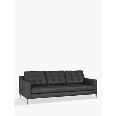 John Lewis Draper Grand 4 Seater Leather Sofa, Light Leg