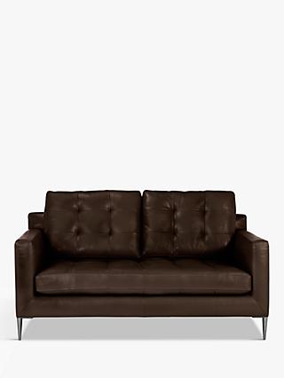 John Lewis & Partners Draper Medium 2 Seater Leather Sofa, Metal Leg
