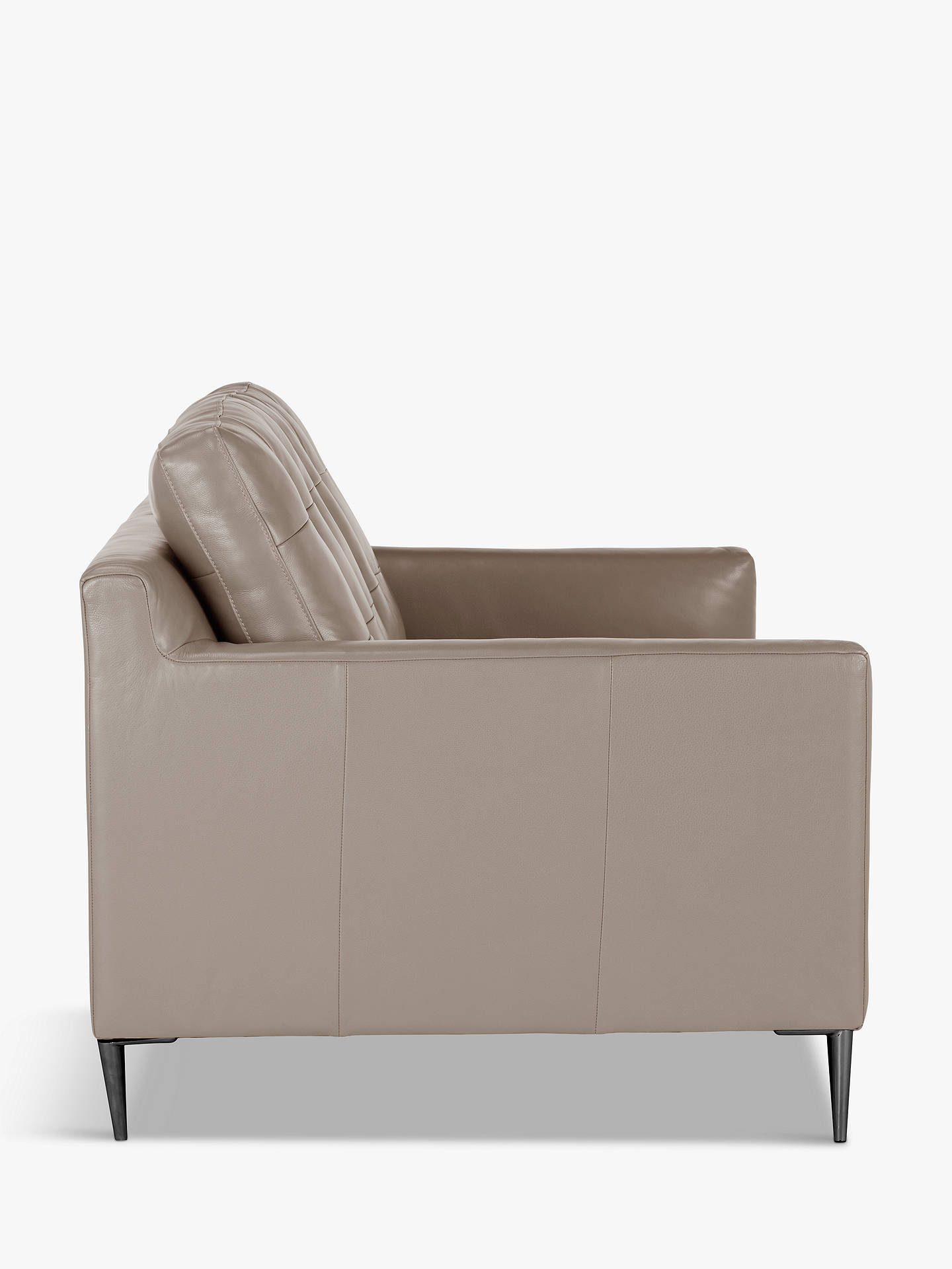 Buy John Lewis & Partners Draper Medium 2 Seater Leather Sofa, Metal Leg, Nature Putty Online at johnlewis.com