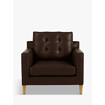 John Lewis Draper Leather Armchair, Light Leg