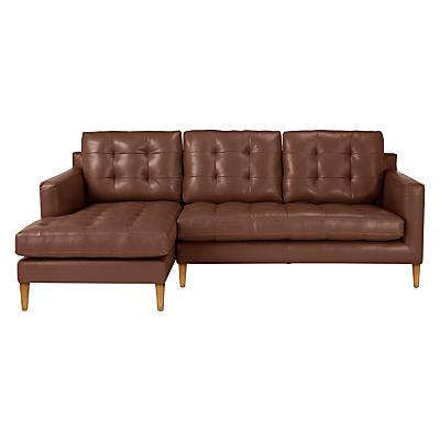 John Lewis Draper LHF Chaise End Leather Sofa, Light Leg