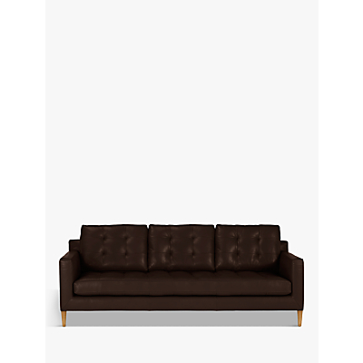 John Lewis Draper Grand 4 Seater Leather Sofa, Light Leg