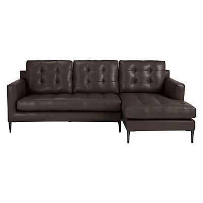 John Lewis Draper RHF Chaise End Leather Sofa, Metal Leg