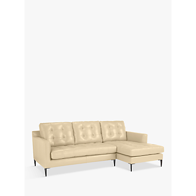 John Lewis & Partners Draper RHF Chaise End Leather Sofa, Metal Leg