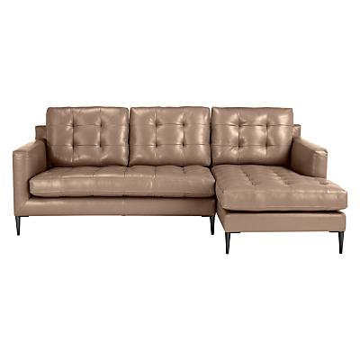 John Lewis Draper RHF Chaise End Leather Sofa, Metal Leg