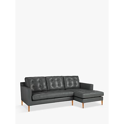 John Lewis Draper RHF Chaise End Leather Sofa, Light Leg