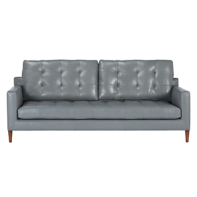 John Lewis Draper Large 3 Seater Leather Sofa, Dark Leg