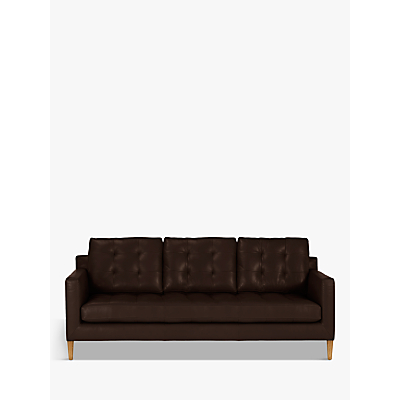 John Lewis Draper Large 3 Seater Leather Sofa, Light Leg