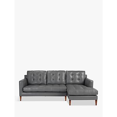 John Lewis Draper RHF Chaise End Leather Sofa, Dark Leg