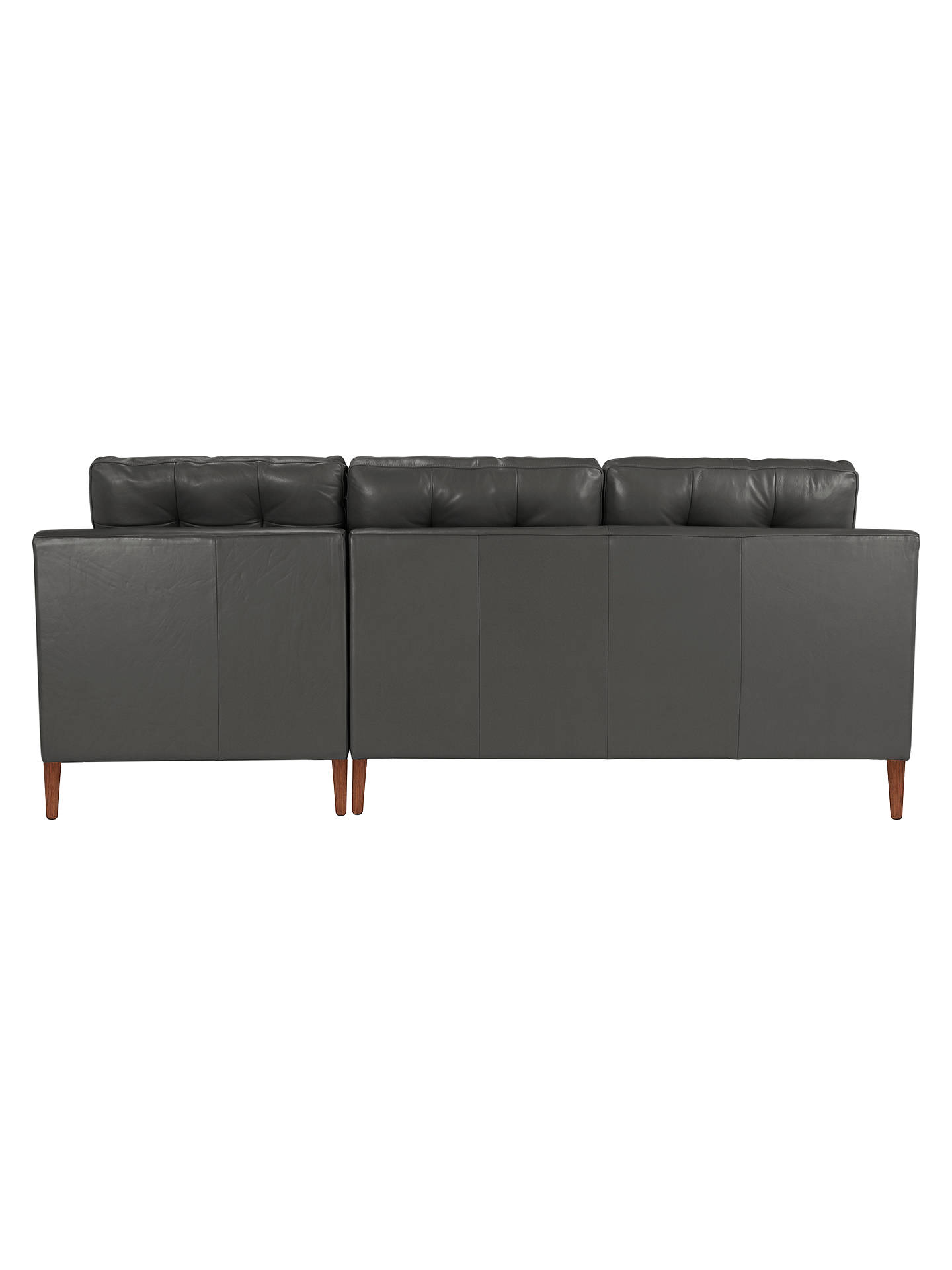 Buy John Lewis & Partners Draper RHF Chaise End Leather Sofa, Dark Leg, Winchester Anthracite Online at johnlewis.com