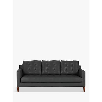 John Lewis Draper Large 3 Seater Leather Sofa, Dark Leg