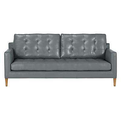 John Lewis Draper Large 3 Seater Leather Sofa, Light Leg