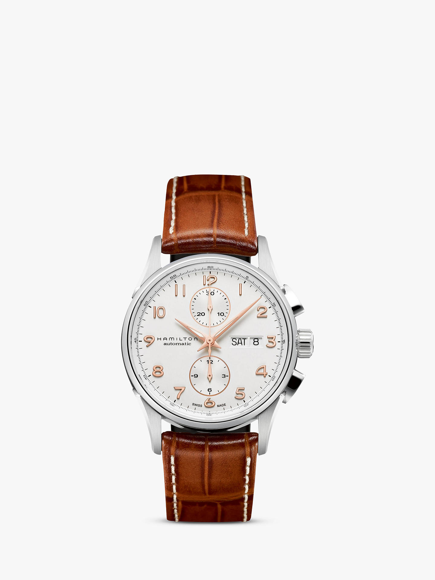 a812c6577 Buy Hamilton H32576515 Men's Jazzmaster Maestro Automatic Day Date  Chronograph Leather Strap Watch, Tan/ ...