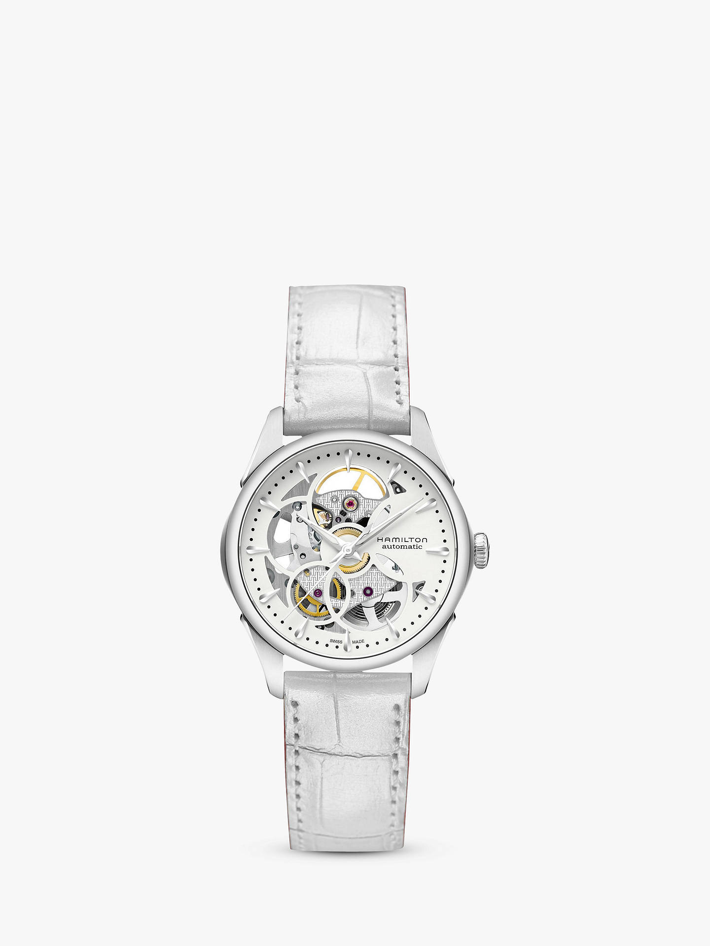 6a0d437db Buy Hamilton H32405811 Women's Jazzmaster Viewmatic Automatic Skeleton Leather  Strap Watch, White Online at johnlewis ...