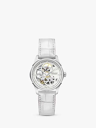 Hamilton H32405811 Women's Jazzmaster Viewmatic Automatic Skeleton Leather Strap Watch, White